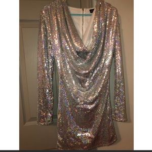 Pretty little thing Silver sequin dress